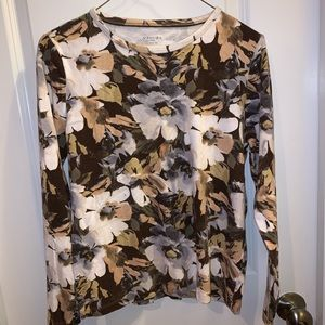 St. John's Bay Floral Long Sleeve Top